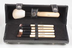 Box with makeup brushes Stock Image