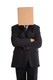 Box man arms folded. Anonymous businessman with his arms folded royalty free stock images