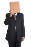 Box Man - draw a face. Royalty Free Stock Photography