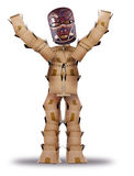 Box man hiding behind a tribal mask Royalty Free Stock Photos