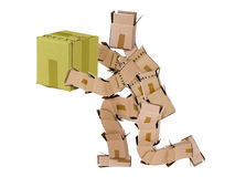 Box man kneeling and giving a gift Stock Photos
