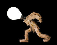 Box man with light bulb head Stock Image