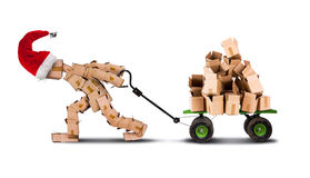 Box character moving boxes on trolley Royalty Free Stock Image