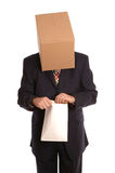 Box man opening envelope Stock Photos