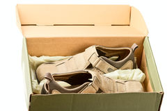Box with man's sandals Stock Image
