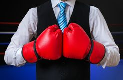 Box manager is fighting and boxing in ring Royalty Free Stock Photos
