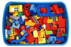 Box with many cubes and toys Royalty Free Stock Image