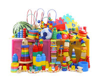 Box with many toys royalty free stock images