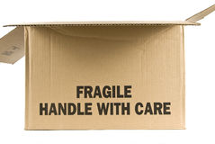 Box marked Fragile Stock Photos