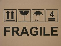 Box markings. Carton box fragile text and marking signs Stock Photography