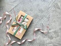 Sweet box with marshmallow, handmade gift.Flat lay food stock photos