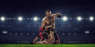 Box match best moments . Mixed media Royalty Free Stock Photography