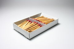 Box of Matches. A box of matches divided into two halves Royalty Free Stock Photos