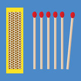 Box and matches icon. Scalable vectorial image representing a box and matches icon on blue background Stock Photography