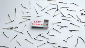 Box of matches with the last chance stock video footage