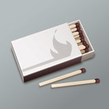Box of matches. Vector opened box of brown matches isolated on gray background Stock Photo