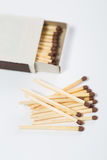 Box of matches on a white Stock Photos