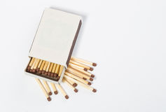 Box of matches on a white Royalty Free Stock Photo
