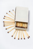 Box of matches on a white Stock Images