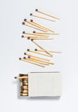 Box of matches on a white Royalty Free Stock Photos