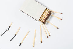 Box of matches on a white Stock Photography