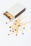 Box of matches on a white Royalty Free Stock Photography