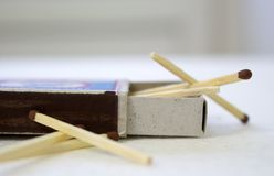 Box of matches on a white background. A box of matches on a white table Stock Photo