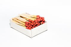 Box of matches on white background Royalty Free Stock Images