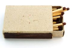 Box with matches. Wooden matches in an open old cardboard box Stock Photography