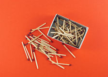 Box of matchsticks Stock Photo