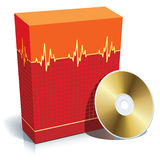 Box with medical software. Red blank 3d box with medical software and CD Stock Photo
