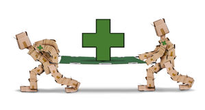 Box characters carrying a stretcher with first aid cross. Box character carrying a stretcher with first aid cross  on a white background Stock Images