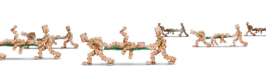 Box characters carrying bodies on stretchers. On a white background Stock Images