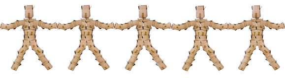 Box men joining hands Stock Photography