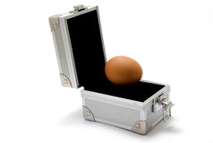 Box metal with egg. Closeup isolated on white background Stock Photos