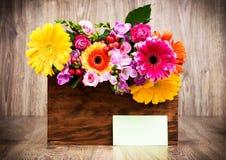 Box of mixed beautiful flowers Stock Photos
