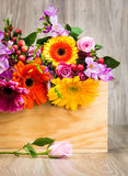 Box of mixed beautiful flowers Royalty Free Stock Images