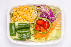 A box of mixed fresh vegetables salad, diet and healthy food con Stock Photos