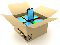 Box and mobile phone. 3D render Royalty Free Stock Image