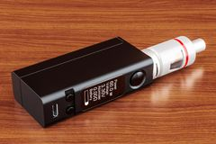 Box Mod e-cigarette on the wooden table. 3D rendering. Box Mod e-cigarette, 3D rendering on the wooden table Stock Photos
