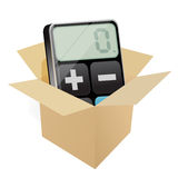 Box and modern calculator Royalty Free Stock Photography