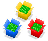 Box with money Stock Photos