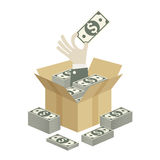 Box of money in hand Royalty Free Stock Photos
