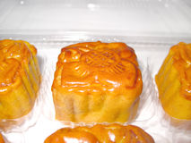 A box of mooncakes. A box of small mooncakes with flower design on them Stock Image