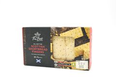 A Box of Morrisons Brand Shortbread Fingers in a Recyclable Pape. Largs, SCotland, UK - April 25, 2018:                                       A Box of Morrisons Royalty Free Stock Image