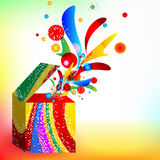 Box multi-colored, gifts taking off from a box Stock Images