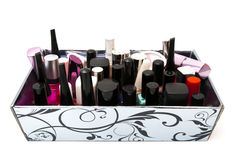 Box nail paint accessories Royalty Free Stock Images