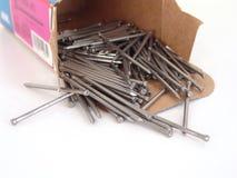 Box of nails royalty free stock photos