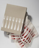 Box of Napkins with Dinner Fork Pattern Design Royalty Free Stock Images