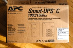 Box of new APC Smart-UPS C 1000VA LCD 230V. PARIS, FRANCE - MAR 29, 2018: Box of new APC Smart-UPS C 1000VA LCD 230V enterprise-level uninterruptible power Royalty Free Stock Photography
